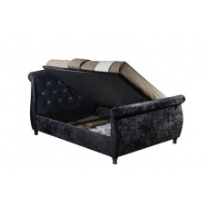 6FT BIRLEA TOULOUSE OTTOMAN BLACK FABRIC BED FRAME