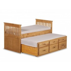 3FT CAPTAINS BED WITH GUESTBED AND UNDERBED DRAWERS (WAXED)