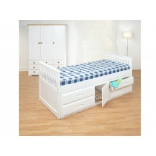 3FT CAPTAINS BED WITH UNDERBED DRAWERS & CUPBOARD (WHITE)