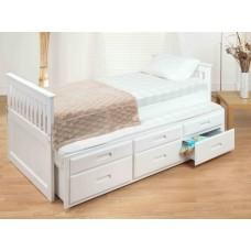 3FT CAPTAINS BED WITH GUESTBED & UNDERBED STORAGE (WHITE)