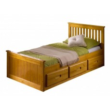 3FT MISSION BED HONEY WITH 3 DRAWERS FOR STORAGE