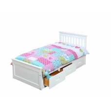 3FT MISSION BED IN WHITE WITH 3 DRAWERS FOR STORAGE