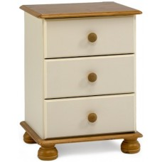 RICHMOND 3 DRAWER BEDSIDE CREAM & PINE