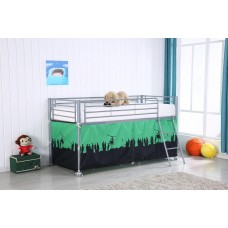 MIDI SLEEPER METAL BUNK WITH ARMY PATTERN CURTAIN