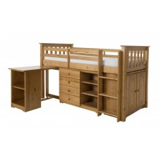 PORTO MIDI SLEEPER WITH DESK, CHEST & BOOKCASE IN PINE