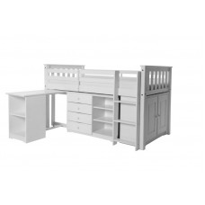 PORTO MIDI SLEEPER WITH DESK, CHEST & BOOKCASE IN WHITE WASH