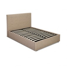 4FT6 LPD LUCCA BEIGE FABRIC BED FRAME