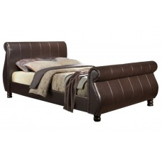6FT BIRLEA MARSEILLE BROWN FAUX LEATHER BED FRAME