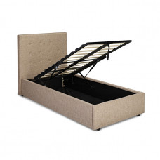 3FT LPD LUCCA BEIGE FABRIC OTTOMAN BED FRAME