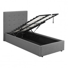 3FT LPD LUCCA GREY FABRIC OTTOMAN BED FRAME