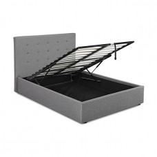 5FT LPD LUCCA GREY FABRIC OTTOMAN BED FRAME