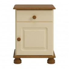 RICHMOND 1 DOOR BEDSIDE IN CREAM & PINE