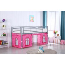 MIDI SLEEPER METAL BUNK WITH PINK CASTLE CURTAIN