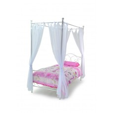 3FT BALLET METAL 4 POSTER BED WITH DRAPES